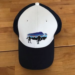 Patagonia Bison Trucker Hat - Navy and White